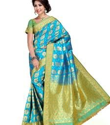 Buy Light Aqua and Olive Green Art Kanchipuram Silk Saree with Blouse kanchipuram-silk-saree online