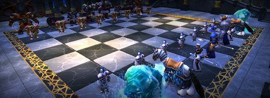 Chess Event - For most players, this is the challenge of the entire dungeon.    You've got to exit a piece as soon as you've made your move. Run back onto the chessboard to control the next piece. Head through the now-open doors on the far side of the room, and then veer right past the flesh beasts and up the spiral staircase toward Prince Malchezaar.