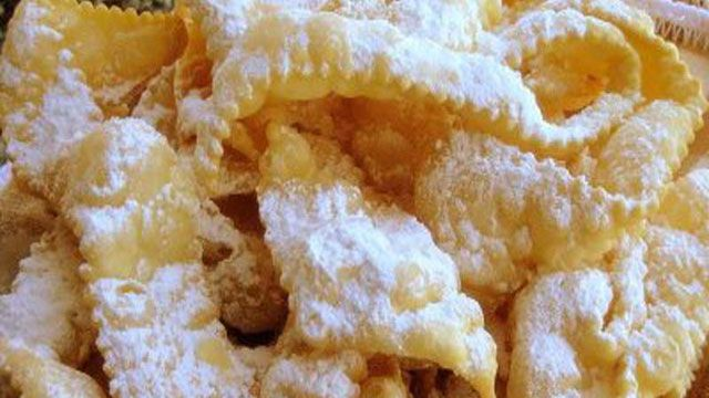 Learn how to make sweet bows crostoli recipe from Lidia Bastianich on PBS Food.