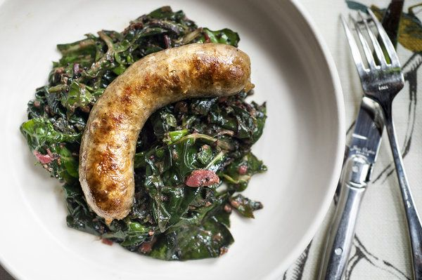 Recipe: Sausage With Chard and Rhubarb || Photo: Evan Sung for The New York Times