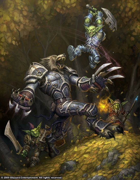 Worgen vs Goblins. Multiple Goblins, I totally dominate at Worgens. Specially the DK's such as the one in this picture