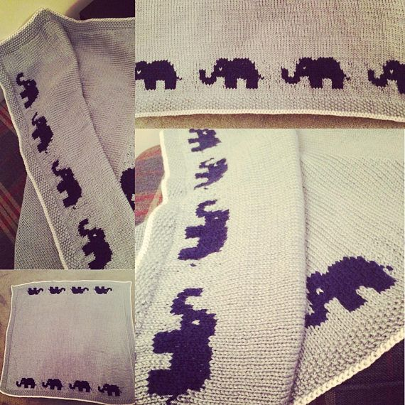 Beautiful knitting pattern for a lovely baby blanket with elephant motif. Pattern is good for intermediate knitters who have experience with jacquard knitting. You will need 400g of aran weight yarn in your main colour 100-200g of aran weight yarn in your chosen contrast colour and another