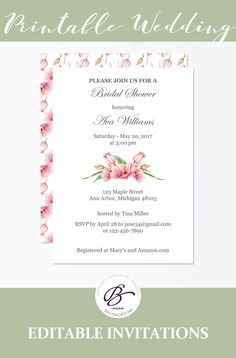 This cute pink floral bridal shower invitation is an editable instant download.
