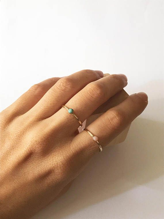 Gem ring, stone ring, crystal ring, gold filled ring, turquoise ring, blue ring, pink ring, minimal ring, stacking ring, thin ring, dainty