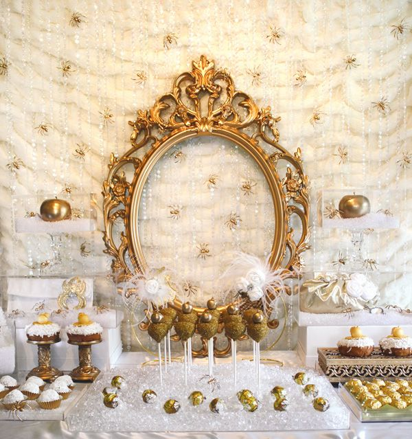 """Bitten"" Snow White party - love the gold and white.  Looks so classy, while still incorporating a fun theme."