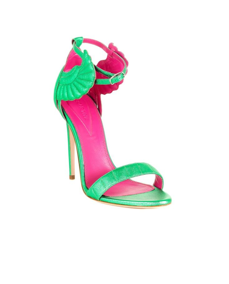 OSCAR TIYE MALIKAH SANDAL SS 2016 Nappa suede sandal  emerald green finishing adjustable strap 11 cm stiletto heel 100% LH  made in Italy