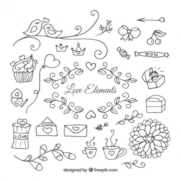 Mão coleção do ornamento amor desenhado                                                                                                                                                                                 Mais