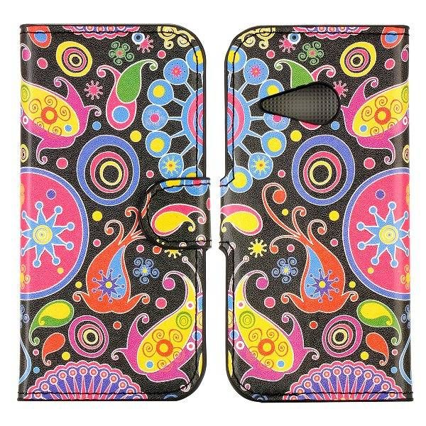Kleurrijke figuren bookcase hoesje voor HTC One Mini 2