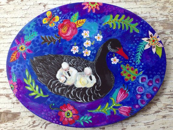 folk art black swan floral wall decor on etsy   78 00