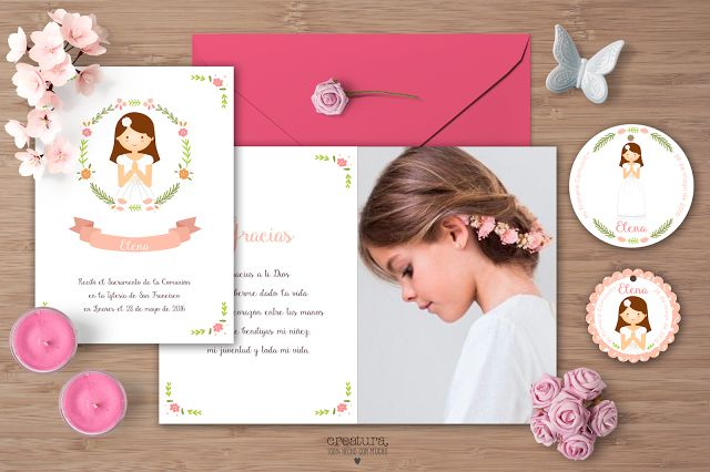 Creatura: Recordatorio o invitación de comunión de niña en rosa. Se diseñan las etiquetas y el marca páginas a juego. Es totalmente personalizable. #comunión #recordatorio #invitación #marcapágina #etiqueta #avatar #minder #communion #invitation #bookmark #kit #label #rosa #pink #guirnalda #garland #flores #flowers #garland #label #shabbychic