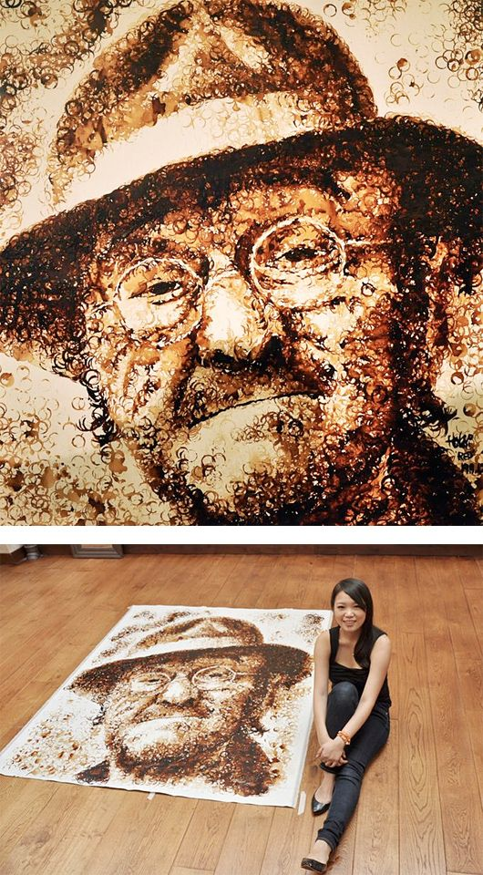 Coffee Stain Portraits by Hong Yi