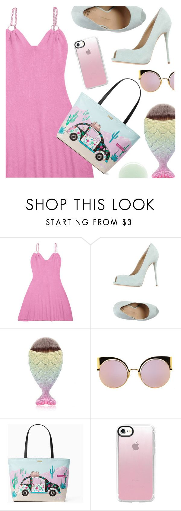 """Pink dress by Zaful"" by deeyanago ❤ liked on Polyvore featuring Giuseppe Zanotti, Fendi, Kate Spade, Casetify and Nails Inc."