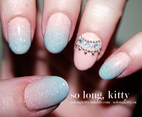 Princess Ombre Dip Dye Nail Polish- love the accent nail!
