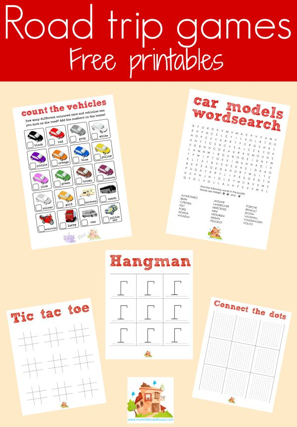 road trip games free printable. Free kids car journey games printable. Five free printable kid games perfect for road trips. Make sure your children are occupied on car journeys with these free car journey games printables.