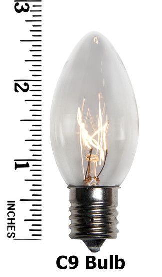 C9 Clear Christmas Light Bulbs, Transparent