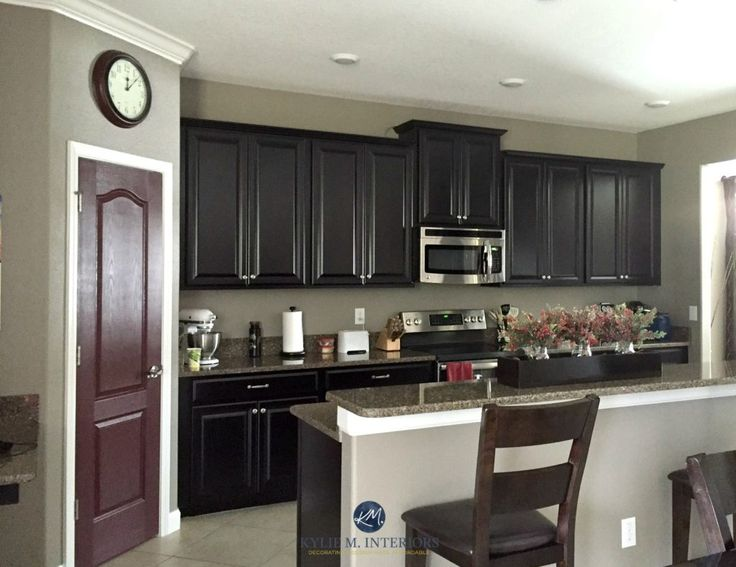 Sherwin Williams Keystone Gray In A Kitchen With Espresso Dark Wood Cabinets Sommelier Painted