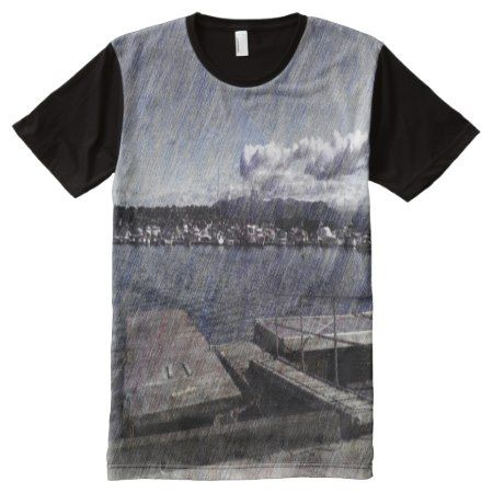Leirvik harbor with boat All-Over-Print T-Shirt - click to get yours right now!
