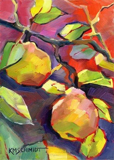 In a Pear Tree by Karen Mathison Schmidt #colorful #botanical #art #fruit