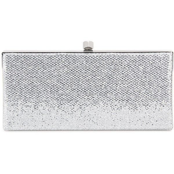 Jimmy Choo Celeste Glitter Clutch found on Polyvore featuring bags, handbags, clutches, silver, jimmy choo purses, jimmy choo, silver glitter handbag, glitter handbags and glitter clutches