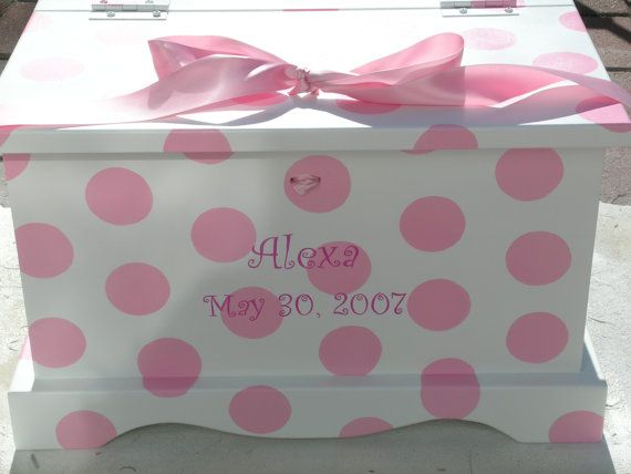 Pink Polka Dots Baby Girls Keepsake Chest Memory Box by staciedale, $265.00