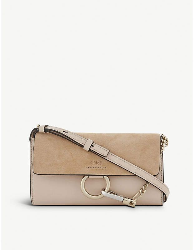 3c25645add2 Chloe Faye leather and suede clutch bag - cement pink Chloe purse ...