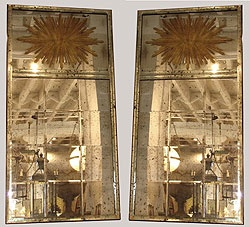 "Gorgeous pair of Antique Venetian Mirrors with Gilded Starbursts...wow! They are 74"" tall, I would love to use these in a project...awesome! From john Rosselli."