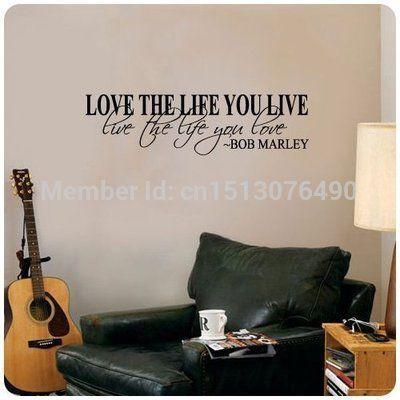 Bob Marley devis sticker mural du décor aimer la vie Termes de grandes autocollant Nice texte /DEVIS/Autocollants Les autocollants d'art…