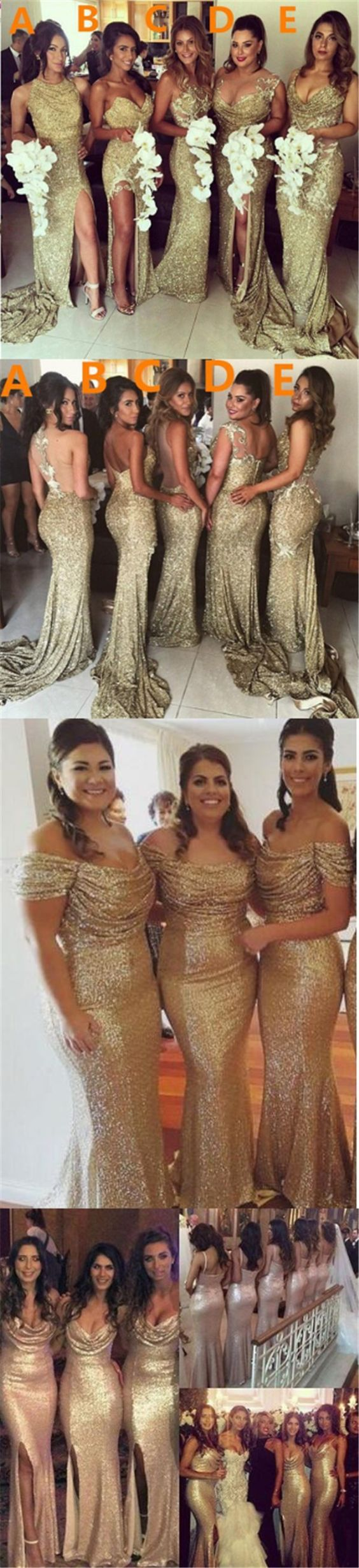 2017 Charming Mismatched Gold Side Split Sparkly Women Long Wedding Bridesmaid Dress, WG86