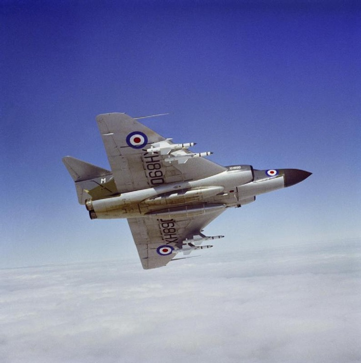 A Gloster Javelin FAW.9R (XH890) of No 23 Squadron banking away from the camera clearly showing the identification markers and the missile complement of De Havilland Firestreak infra-red homing air-to-air missiles. This aircraft is flying from No. 23 Squadron's base at RAF Coltishall, Norfolk. From the IWM collection THE ROYAL AIR FORCE 1950 - 1967 shared under the IWM Non Commercial Licence.