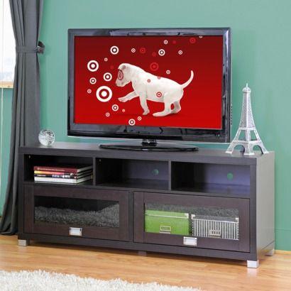 Modern TV Stand with Glass Doors - Dark Brown (Medium)