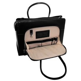 Slip your laptop into the main compartment of this women's black laptop tote from McKlein, then slide your accessories, flash drives and charging cables into the front zippered section to have everyth