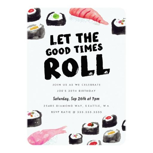 Sushi Birthday Party Invitation Card