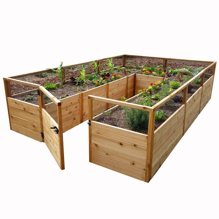 8 ft. x 12 ft. Cedar Raised Garden Bed, Natural Wood
