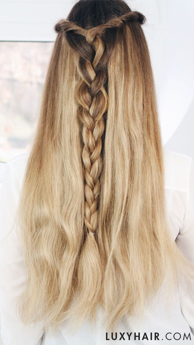 Long Rapunzel Hair Thanks To Clip In Luxy Hair Extensions Super Simple Too Karin Wears Luxy Hair In D Braided Hairstyles Hair Styles Braids For Short Hair