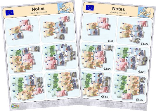 Learn to recognise and count EURO banknotes & coins - counting banknotes 2