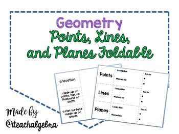 This is a foldable for students to learn about Points, Lines, and Planes.Students have the space to fill, by guided instruction, what each-Diagram looks like-Definition-How the figure is referred to or called-Bullet points to list other specific information such as collinear, coplanar, etc.