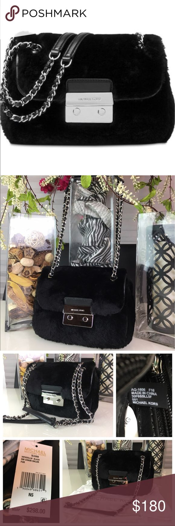 """Micheal Kors Sloan Small Chain Shoulder Bag Micheal Kors 💯 % Authentic Brand New Sloan Small Chain Shoulder Bag in Black Color. Dyed, whole shearing lamb fur, lining, polyester. Imported. Small sized bag, 8""""W X 5 1/2 H X 2 1/2 D. Interior features center zip compartment, 1 zip pocket, 2 utility pockets & 4credits slots. 24"""" L pull-through strap. Push-lock Closure. Exterior features shiny rhodium-tone hardware & 1 back Snap Pocket. MICHAEL Michael Kors Bags Shoulder Bags"""