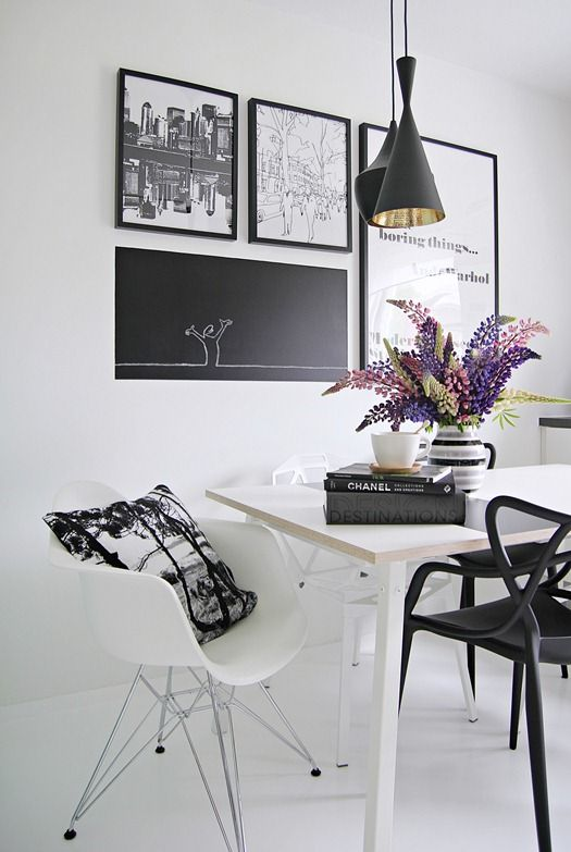 Love this very simple modern and clean display. Notice the play of black and white and how it balances each other.