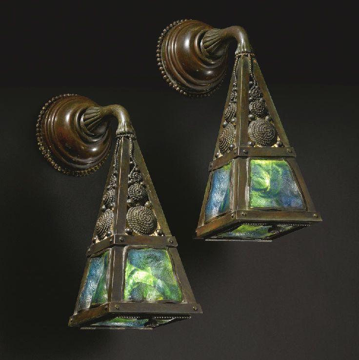 Antique Tiffany Studios Arts and Crafts Wall Sconces