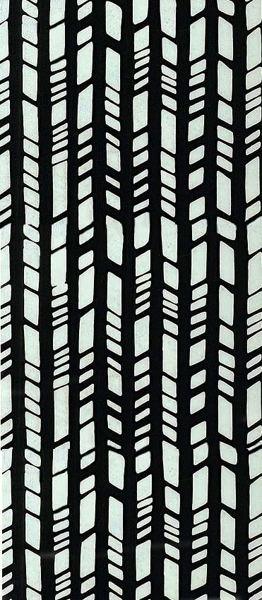 equilter.com, this design looks like bamboo shoots. the designer has creatred a pattern with the layering of the thick vertical lines. thereis intrest added to the design by the horizontal lines. the target audience for this design is people who are interested in this style of works.