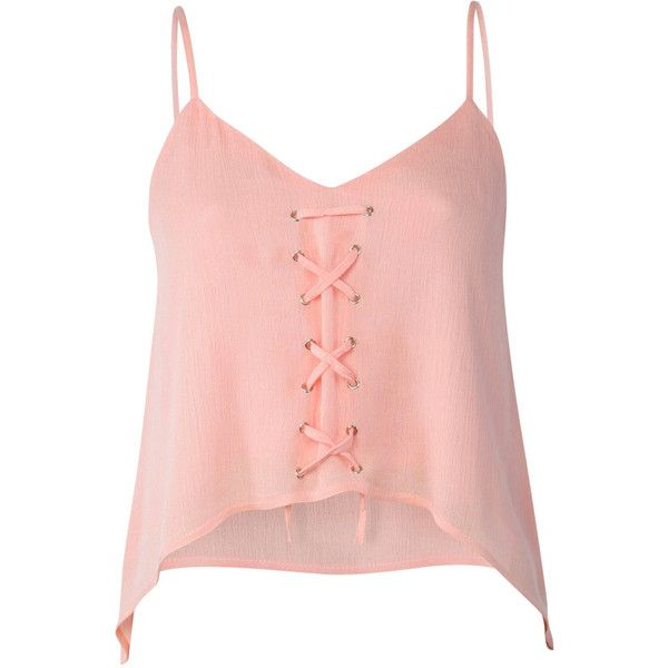 Pilot Lace Up Front Floaty Camisole Crop Top (45 AED) ❤ liked on Polyvore featuring tops, shirts, pale pink, lace up shirt, pale pink top, tie crop top, tie shirt and pink cami top