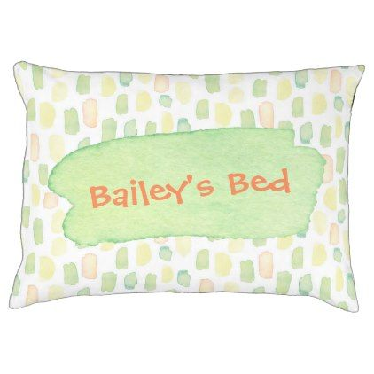 Personalized Dog Bed Watercolor Green Yellow Orang - watercolor gifts style unique ideas diy