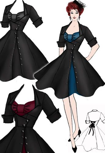 Rockabilly side-button dress, by Amber Middaugh.