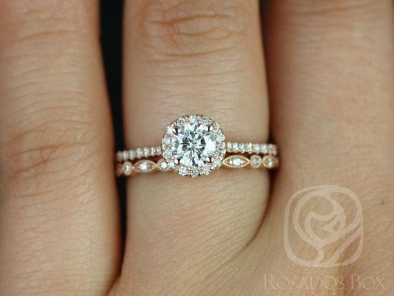 Kubian 5mm & Ultra Petite Bead Eye 14kt FB Moissanite and Diamonds Halo Wedding Set (Other metals and stone options available)
