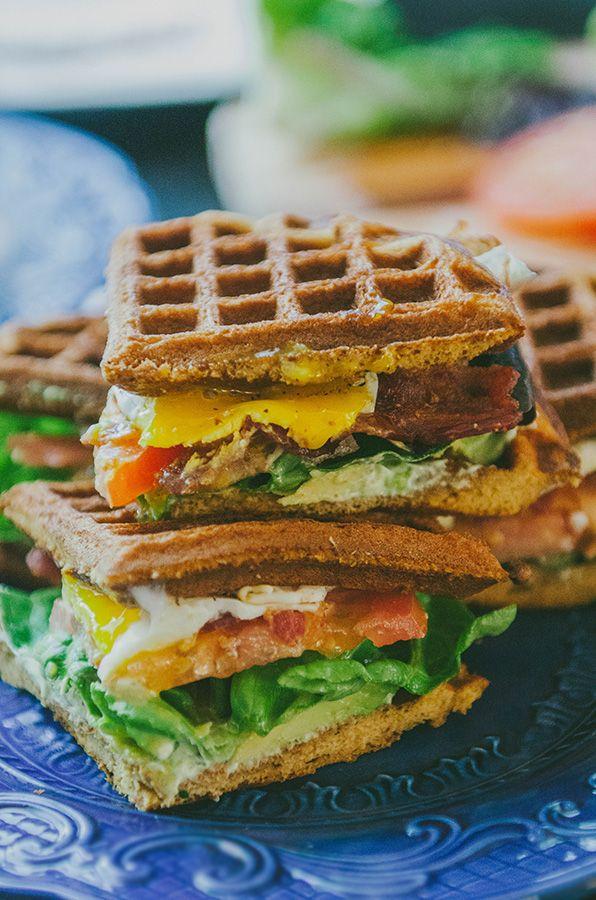 Grain-Free Sweet Potato Waffle Breakfast BLT With Garlic Basil Aioli