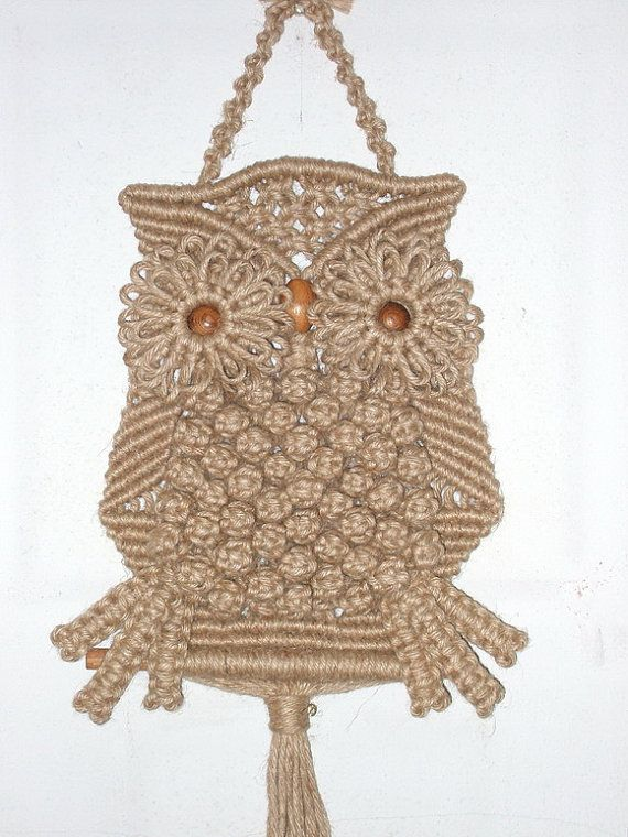 Macrame Owl with natural Jute by handiworkclub on Etsy