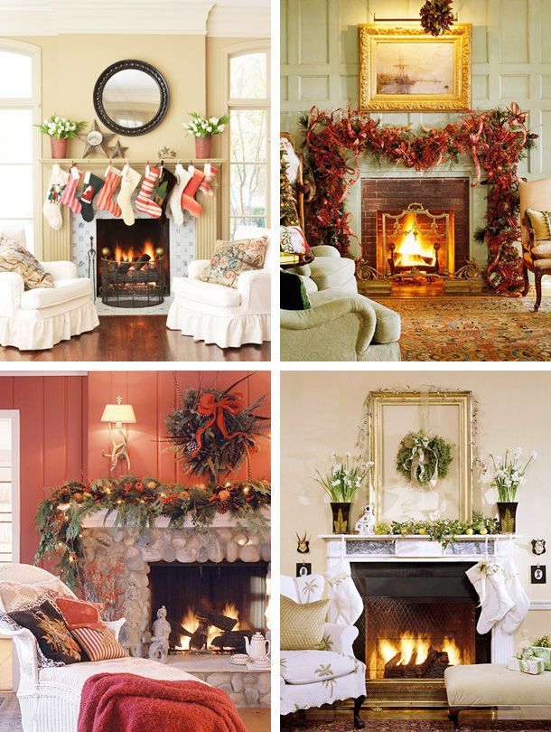 95 best images about fireplace mantle decorating ideas on for Images of fireplace mantels decorated for christmas