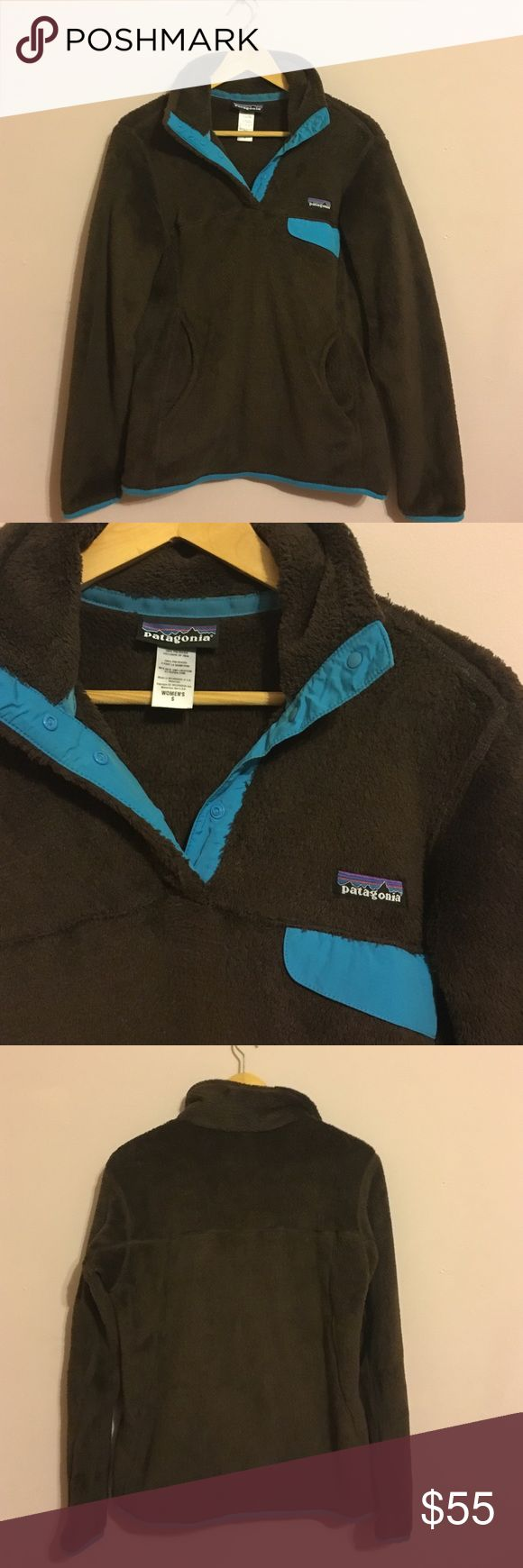 Patagonia Fleece Pullover Brown and turquoise women's Patagonia Pullover with pockets. Gently worn Patagonia Jackets & Coats
