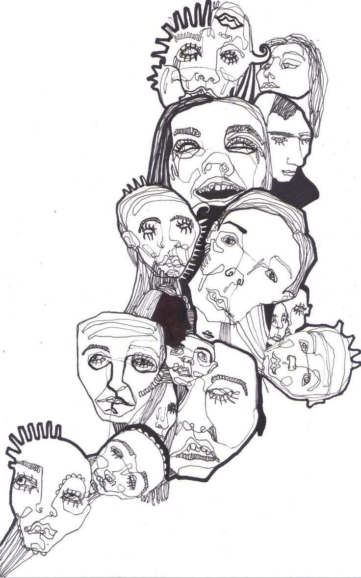 Line of Faces. Fine Liner pen and permanent marker, Nina Meahan