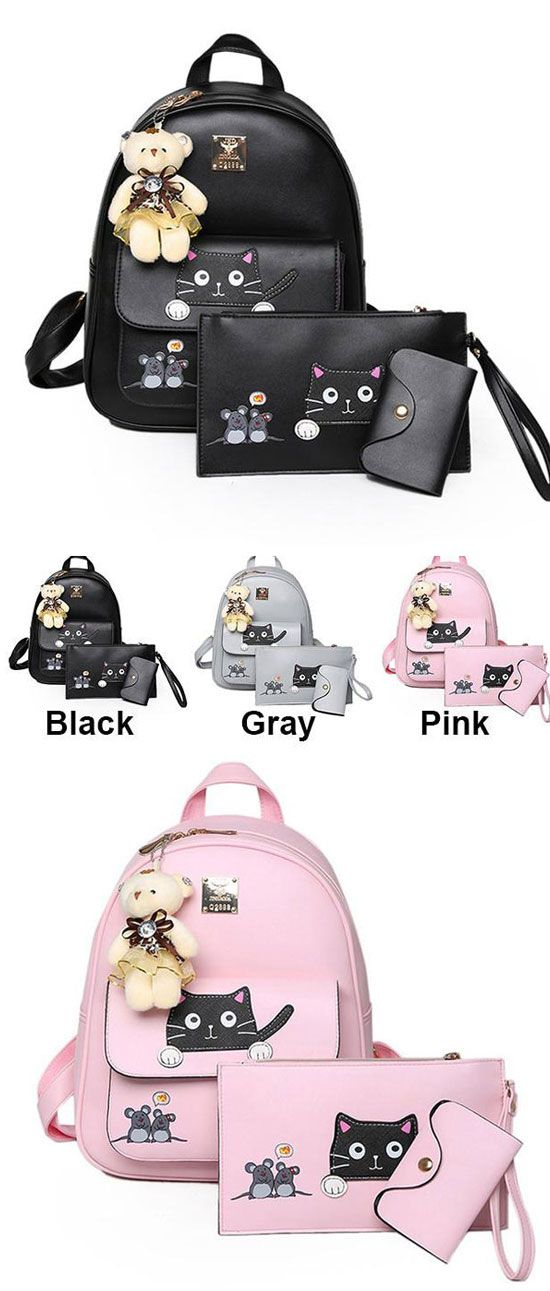 Cute Kitty Bag Gift Bear Doll Mouse Splicing Cat PU Kitty Backpack Cartoon School Backpack for big sale! #cat #kitty #kitten #cartoon #student #school #college #bag #backpack #girl #cute